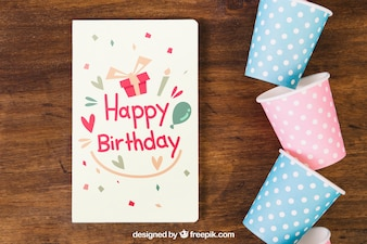 Card mockup with birthday design