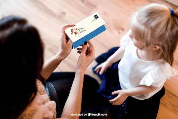 Card mockup with christmas design