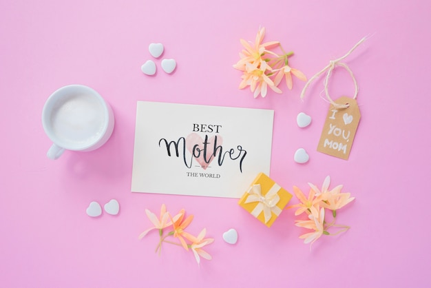 Card mockup with flat lay mothers day composition