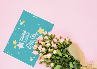 Card mockup with floral decoration for wedding or quote