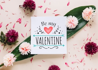 Card mockup with floral valentines day concept