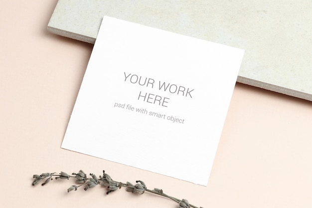 Card mockup with lavender