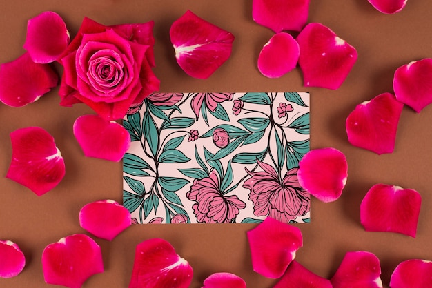Card mockup with red roses