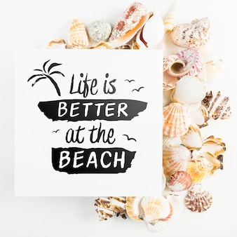 Card mockup with tropical summer concept with seashells