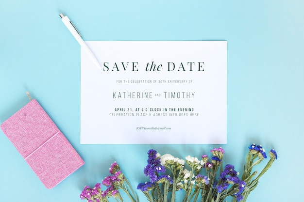 Card mockup with wedding concept