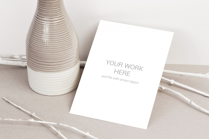 card mockup with white branches