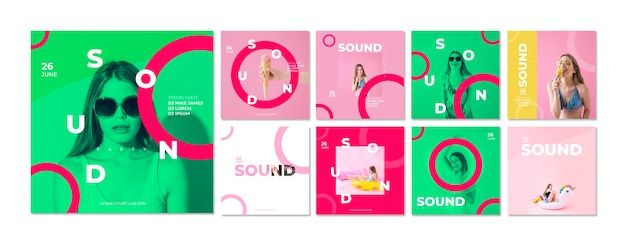 Card template for sound festival