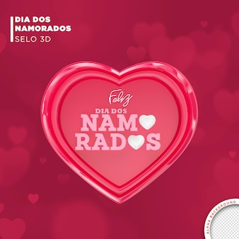 Card valentines day in brazil 3d render template design