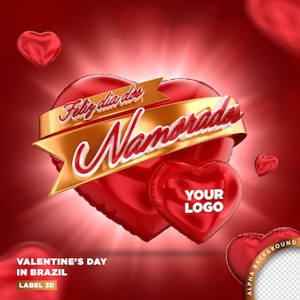 Card of valentines day in brazil, 3d render template