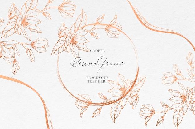 結婚式のテンプレートのクーパーマグノリアの花とカード