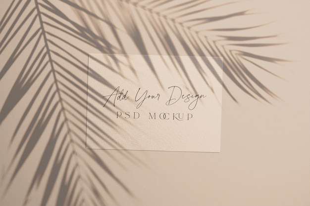 Card with overlay shadow palm leaves