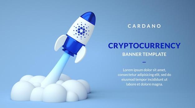 Шаблон баннера cardano ada с копией пространства, бычья криптовалюта в ракете в 3d-рендеринге