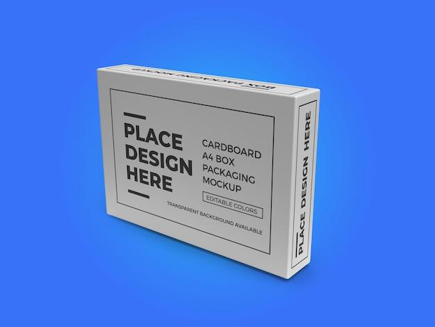 Cardboard a4 paper box mockup template psd