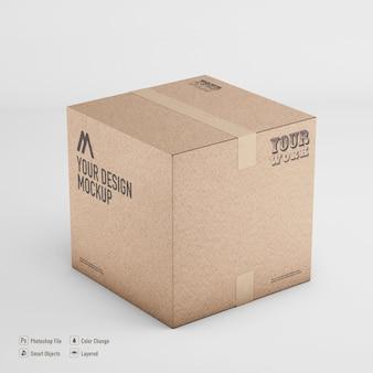 Картонная коробка макет 3d-рендеринга изолированные
