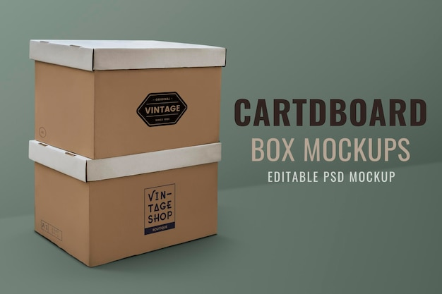 Cardboard box mockup psd on green background