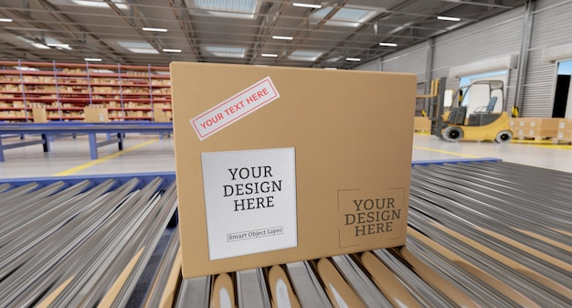 Cardboard box mockup in a warehouse