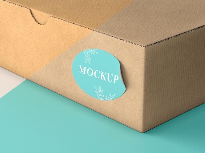 cardboard box with sticker mock up