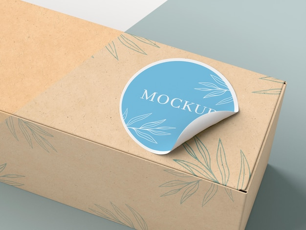 Cardboard box with sticker mock up