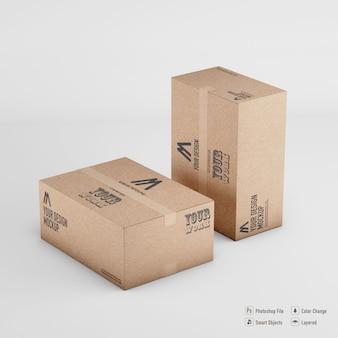 고립 된 이랑 렌더링 골 판지 상자