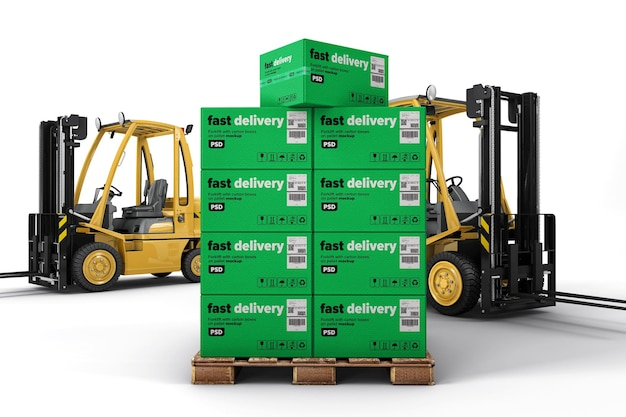 Cardboard boxes on a wooden pallet with forklifts mockup