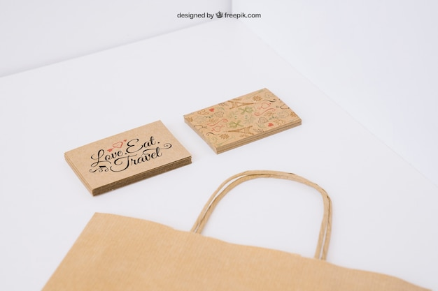 Cardboard business cards and bag