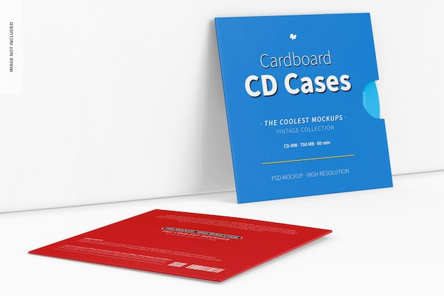 Cardboard cd cases mockup, leaned and dropped
