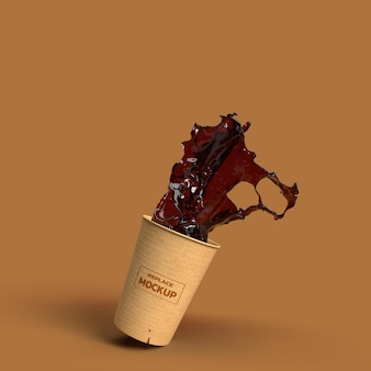Cardboard cup coffee splash 3d rendering insulated rendering