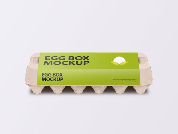 포장 라벨 목업 전면보기가있는 골판지 달걀 카톤 상자