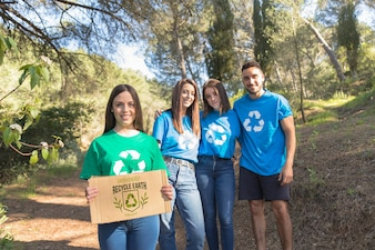 Cardboard mockup with eco and volunteer concept