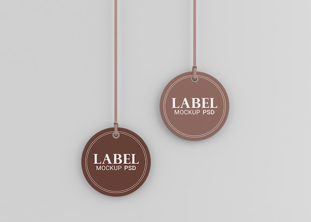 Cardboard rounded label tag mockup