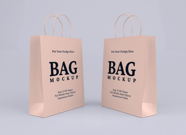 段ボールの買い物袋のモックアップ