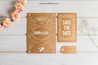 Cardboard wedding set