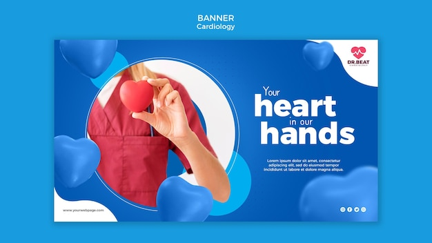 Cardiology medic holding a toy heart banner web template