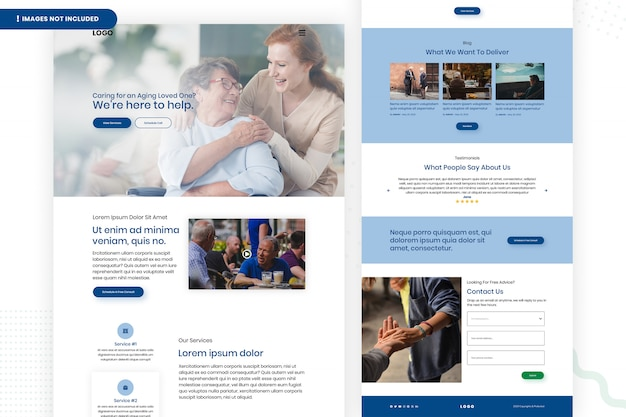 Care aging people web page template