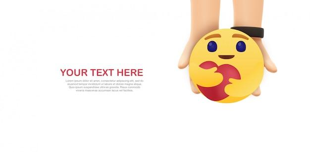 Care emoji 3d mockup - hands hold yellow emoticon