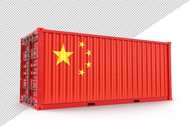 Грузовой контейнер с флагом китая. 3d-рендеринг. изолированные на белом