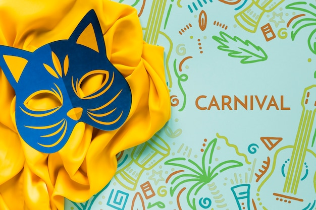 Carnival cat mask on fabric