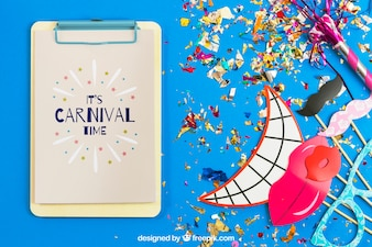 Carnival mockup with clipboard and and elements