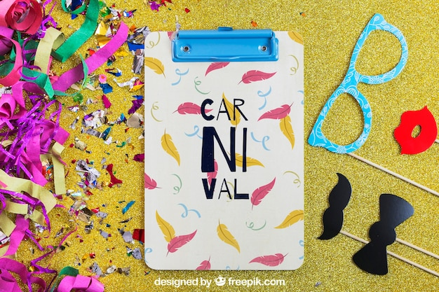 Carnival mockup with clipboard and different elements