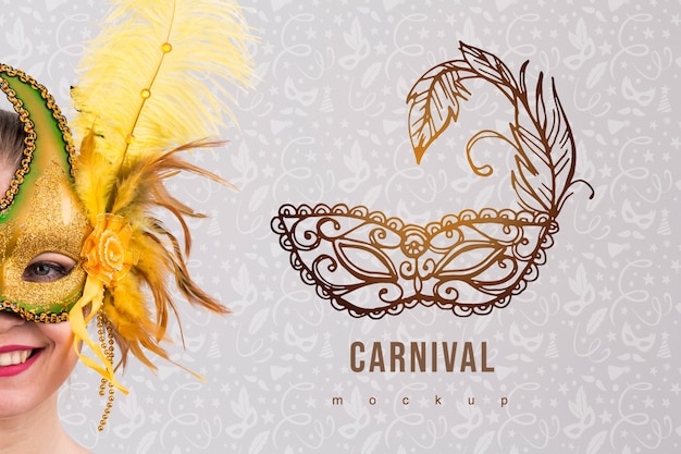 Carnival mockup with image of woman