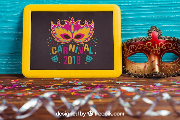 Carnival mockup with leaning slate