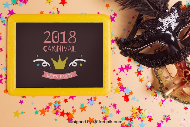 Carnival mockup with slate next to mask