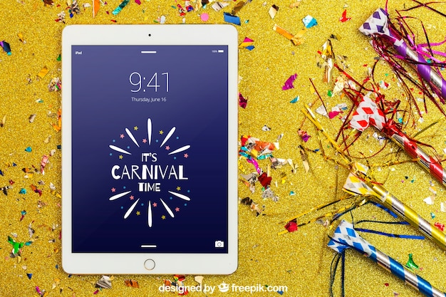 Carnival mockup with tablet and confetti