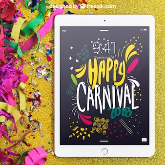 Carnival mockup with white tablet
