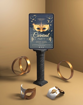 Carnival party mock-up with golden rings