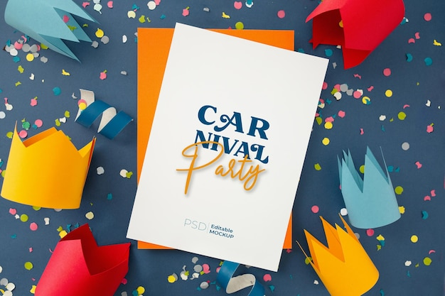 Carnival party poster mockup with confetti