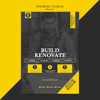 Carpenter manual worker build and renovate poster