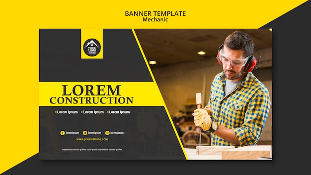 Carpenter manual worker handyman banner template