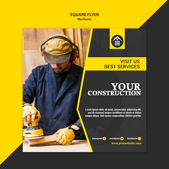 Carpenter manual worker handyman square flyer