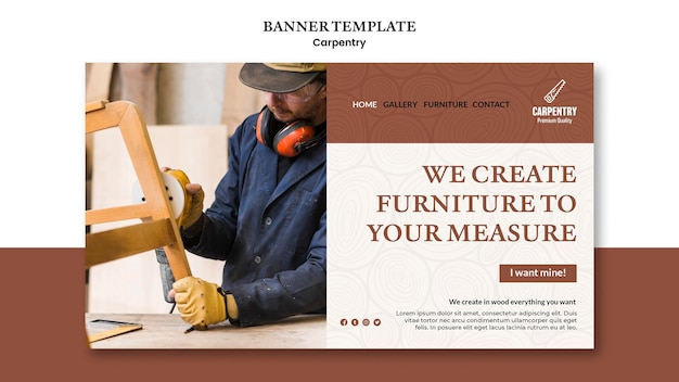 Carpentry concept banner template